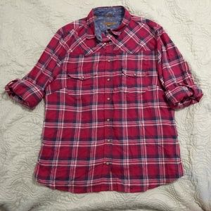 Jachs girlfriend bea red plaid snap button top